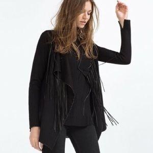 Zara Black Fringe Cardigan